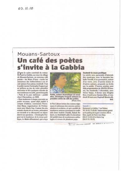 Un café de poètes s'invite à la Gabbia--03.11.2010